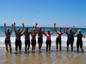 group cycling and swimming